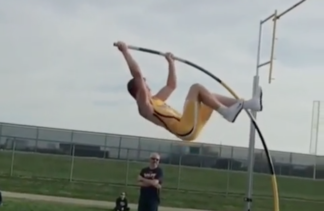 Pole Vaulter's Jump is Ruined by His Own Pole [Video]