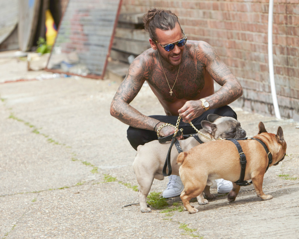 Picture Shows: Pete Wicks, Peter Wicks June 22, 2016 ** Min Web / Online Fee ¿300 For Set ** 'The Only Way is Essex' star Pete Wicks goes topless on the set of his 2017 calendar shoot with his french bulldogs Eric and Ernest in London, England. ** Min Web / Online Fee ¿300 For Set ** Exclusive All Rounder WORLDWIDE RIGHTS Pictures by : FameFlynet UK ¿ 2016 Tel : +44 (0)20 3551 5049 Email : info@fameflynet.uk.com