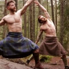 VIRAL: Sexy Shirtless Scotsmen Perform Yoga in just Kilts [NSFW-ish]