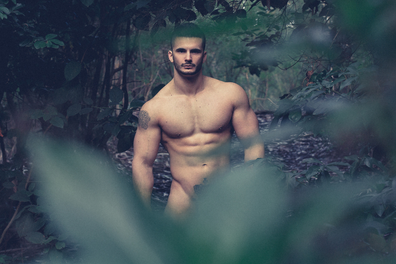 MAN CANDY: Spanish Fitness Model Posing Naked in Woods will Give you Wood [NSFW]