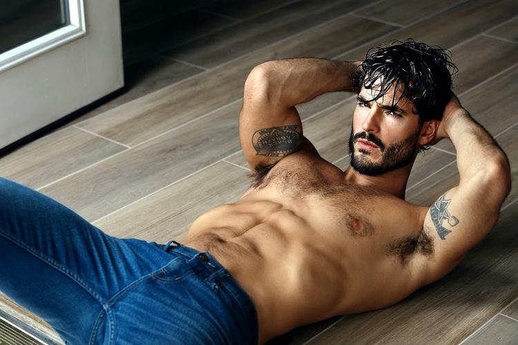 Model Andrew Biernat shows off his meat in see-through undies